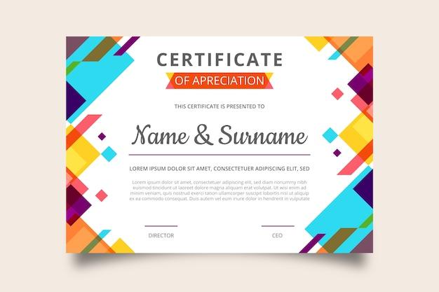 Certificado de apreciación de diseño geométrico moderno Vector Premium