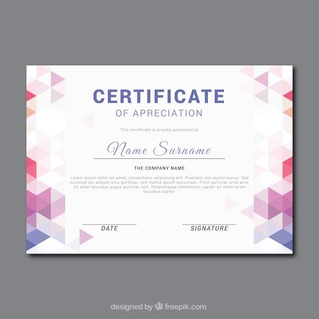 Certificado de apreciación fantástico con formas geométricas de color vector gratuito