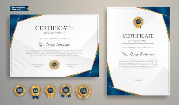 Certificado azul y oro con insignia y borde vector plantilla a4. Vector Premium