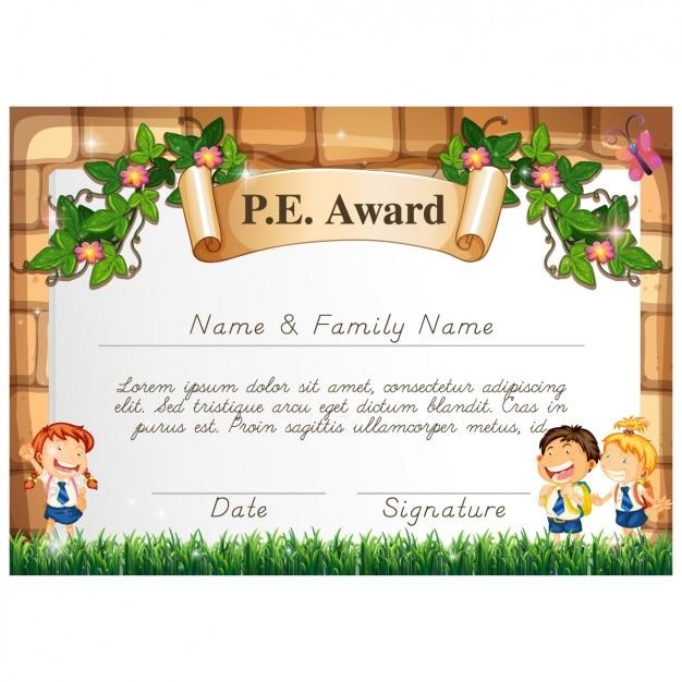Certificado Cartoon Para Ninos Descargar Vectores Premium