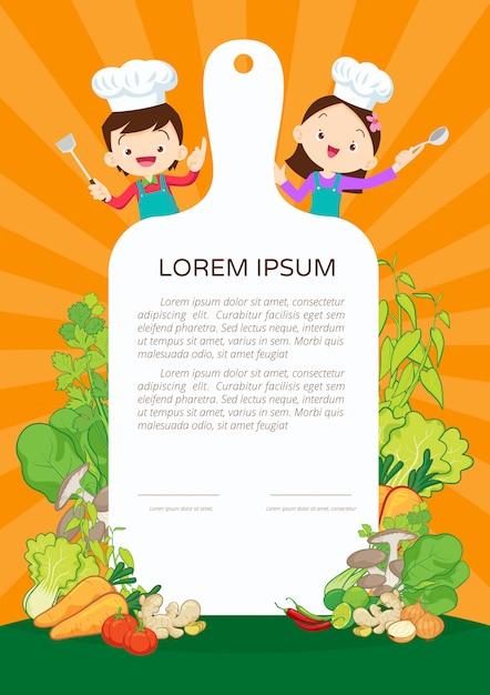 Certificado de clase de cocina para niños Vector Premium