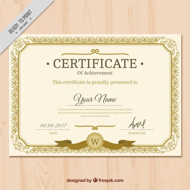 Certificado clásico vintage dorado  Vector Gratis