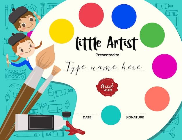Certificado de curso de pintura de diploma de niños pequeños ...