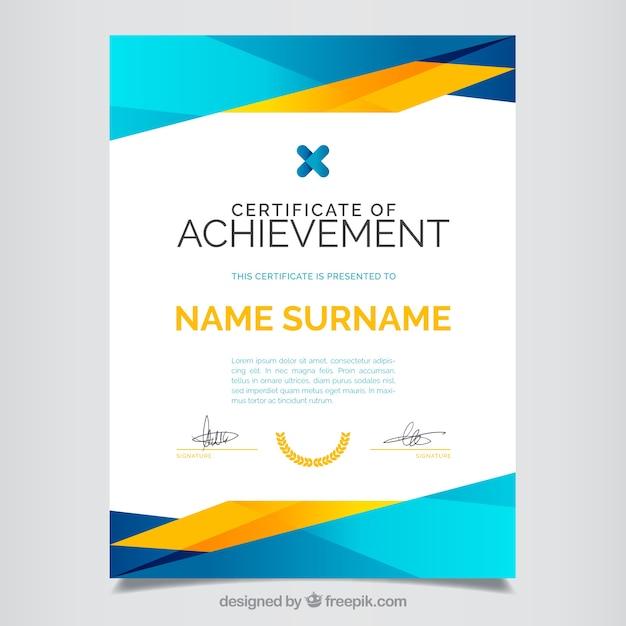 Certificado de aprovechamiento, a todo color Vector Gratis