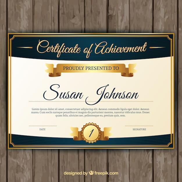 Certificado de aprovechamiento con elementos dorados clásicos  Vector Gratis