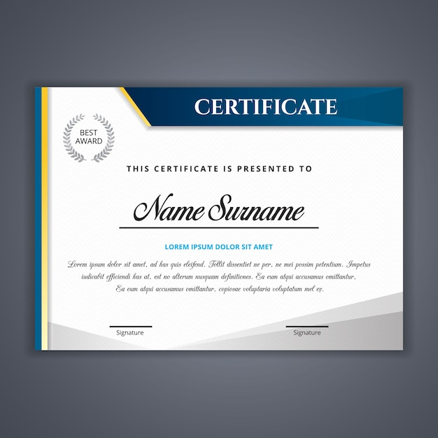 Certificado de plantilla de logros | Descargar Vectores Premium