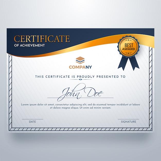 Certificado de plantilla de premio de logro.   Descargar Vectores ...