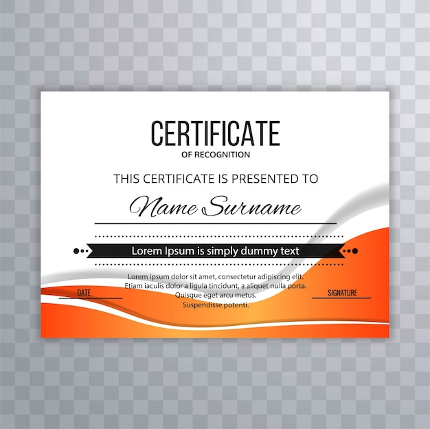 Certificado de plantilla premium premios diploma diseño de onda ...