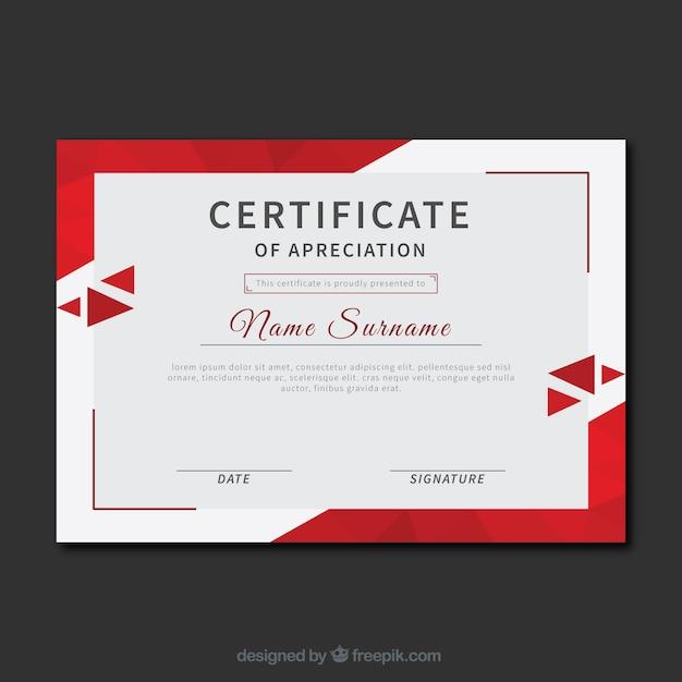 Certificado de reconocimiento con triángulos rojos Vector Gratis