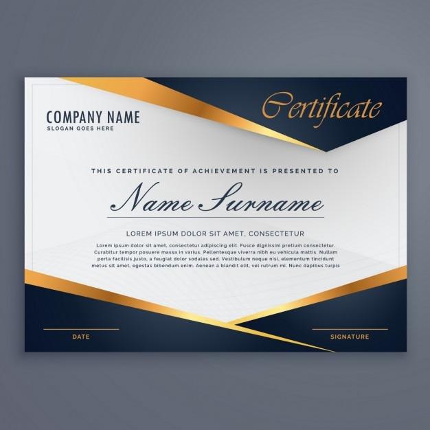 Certificado decorado con formas azules y líneas doradas vector gratuito