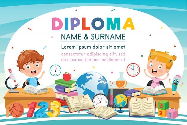 Certificado de diploma de niños de escuela primaria preescolar Vector Premium