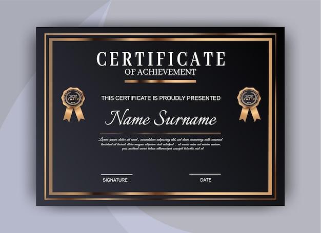 Certificado de diseño de plantilla de logro. plantilla de diploma certificado premium Vector Premium