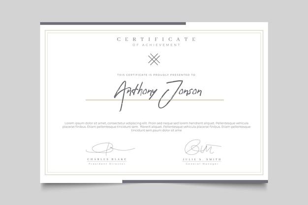 Certificado elegante con marco vector gratuito
