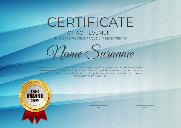 Certificado, fondo de plantilla de diploma. Vector Premium