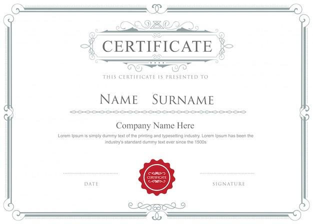 Certificado frontera vector elegante plantilla de adornos Vector Premium