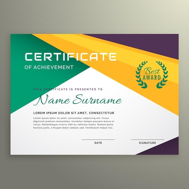 Certificado geométrico abstracto de la plantilla del logro ...
