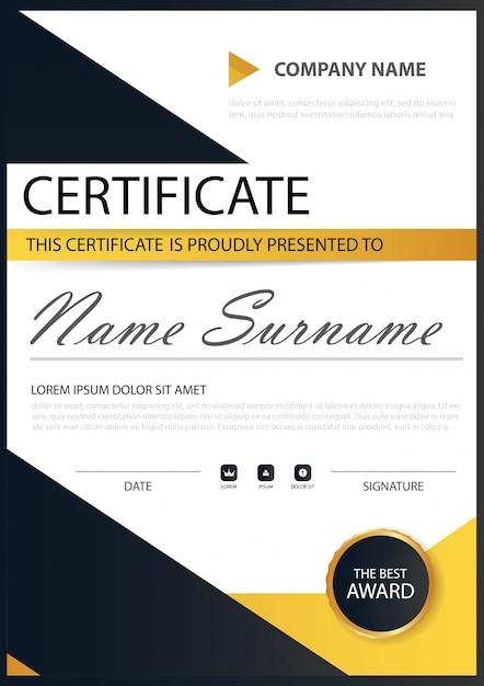 Certificado horizontal amarillo de la elegancia negra con la ...