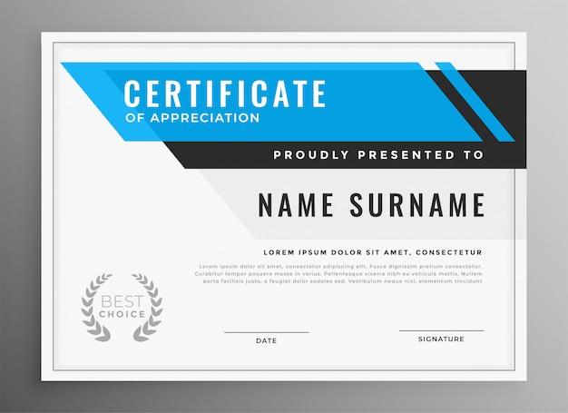 Certificado limpio azul de diseño de plantilla de apreciación vector gratuito