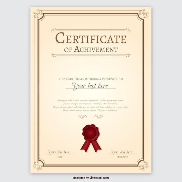Certificado de logro vector gratuito