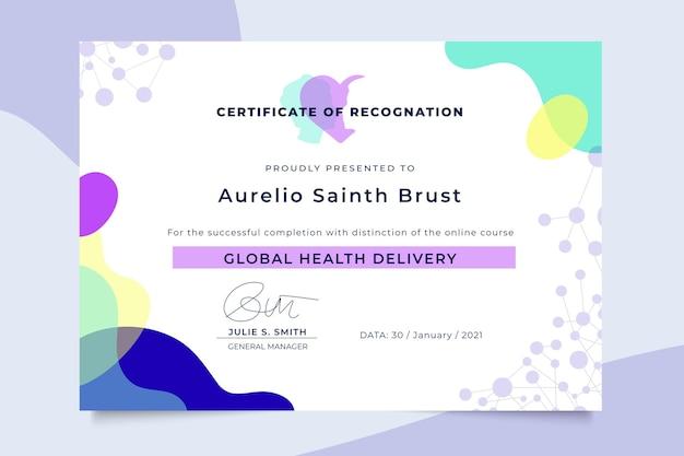 Certificado médico colorido abstracto vector gratuito