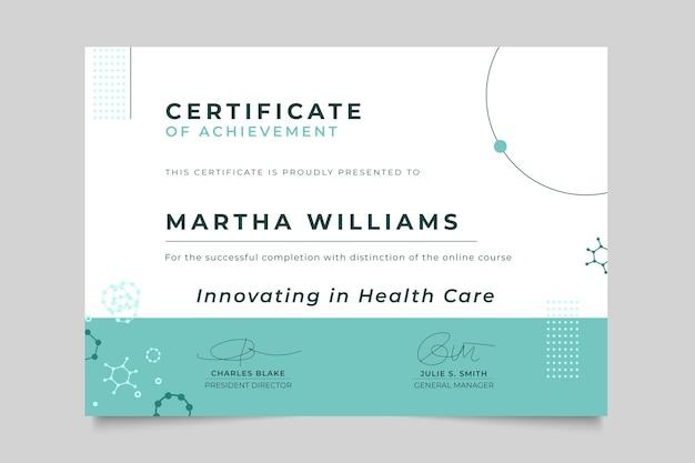 Certificado médico minimalista abstracto vector gratuito
