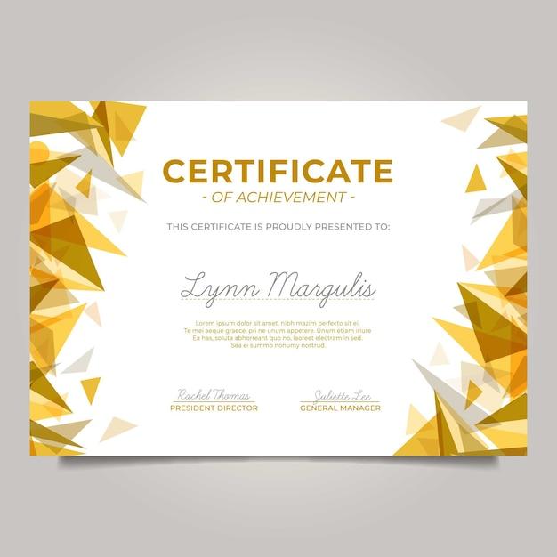 Certificado moderno con triángulos dorados. vector gratuito