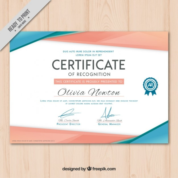 Certificado moderno vector gratuito