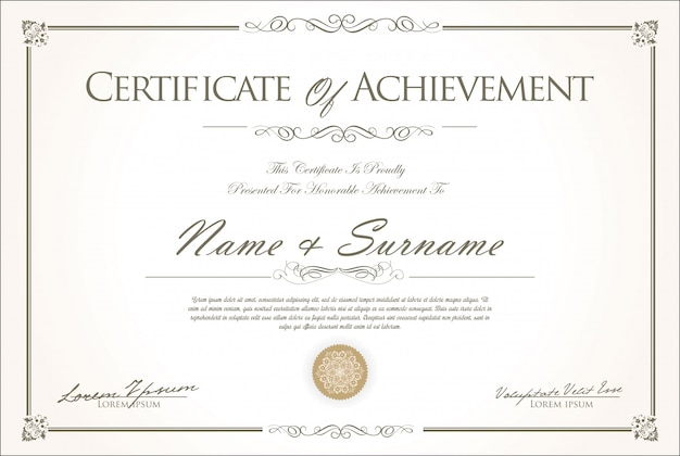 Certificado o diploma de diseño retro vintage. Vector Premium