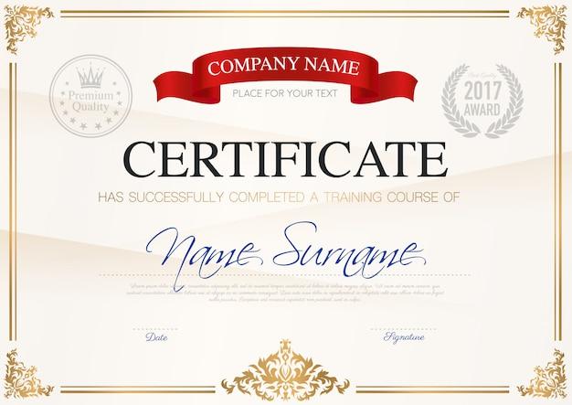 Certificado de plantilla de finalización vector gratuito