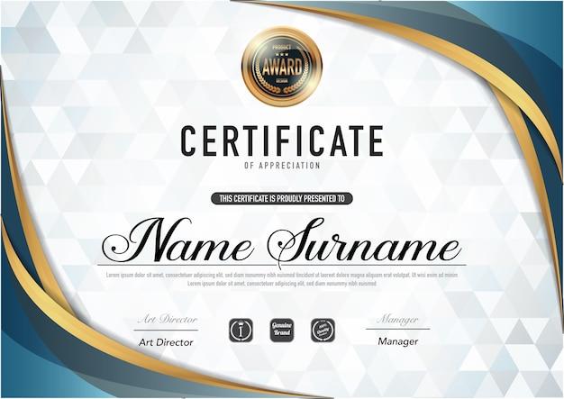 Certificado de plantilla de lujo y estilo de diploma ,. Vector Premium