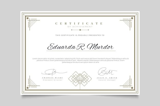 Certificado con plantilla de marco elegante vector gratuito