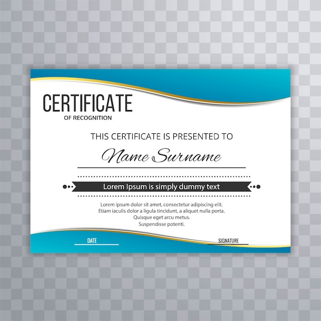 Certificado plantilla premium premios diploma diseño de onda azul ...