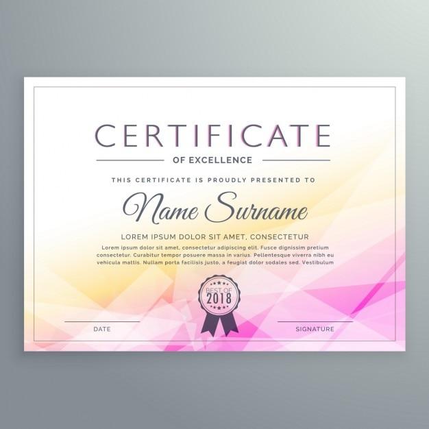 Certificado poligonal amarillo y rosa vector gratuito