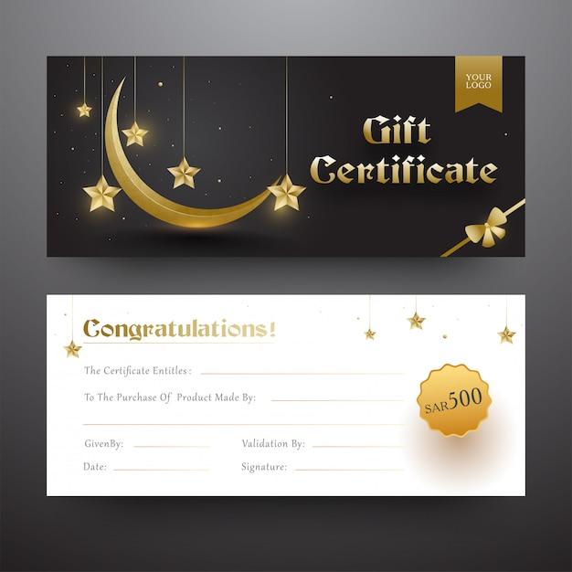 Certificado de regalo o diseño de cupón en fuente delantera y trasera con g Vector Premium
