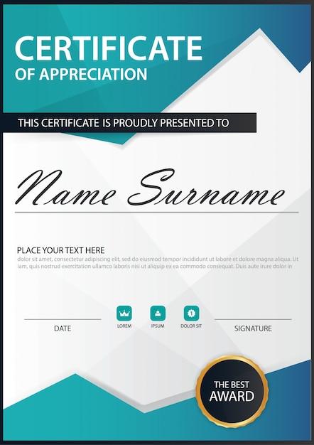 Certificado vertical de la elegancia del polígono azul con la ...