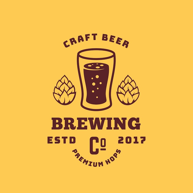 Cerveza artesanal premium lúpulo abstracto retro símbolo o logotipo vector gratuito
