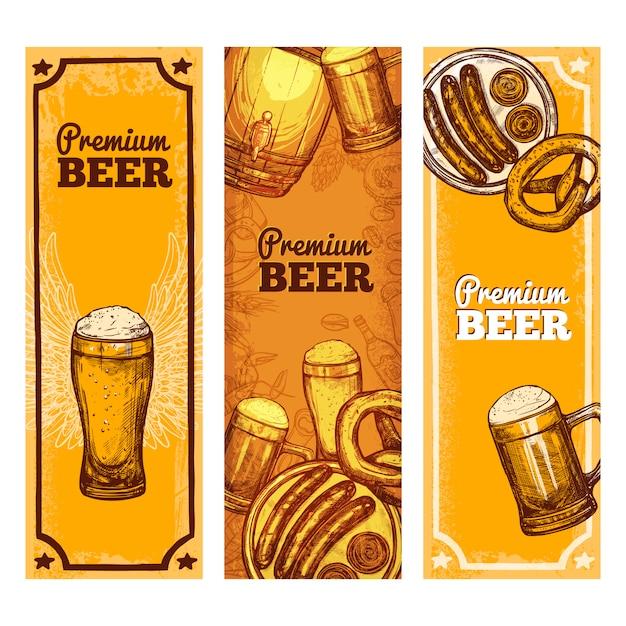 Cerveza banner vertical vector gratuito
