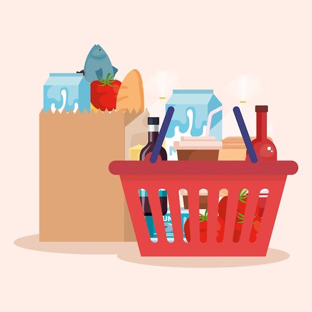 Cesta de la compra y bolsa con productos vector gratuito
