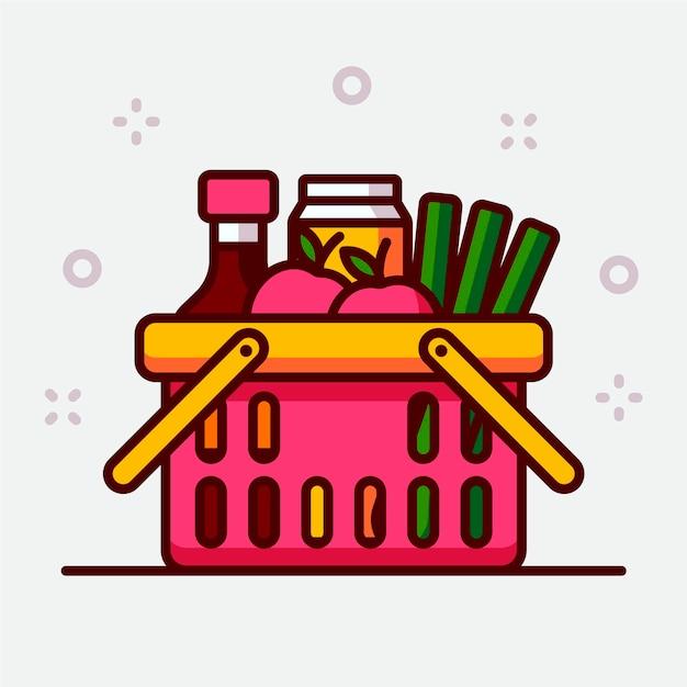 Cesta de la compra rosa llena de comestibles vector gratuito