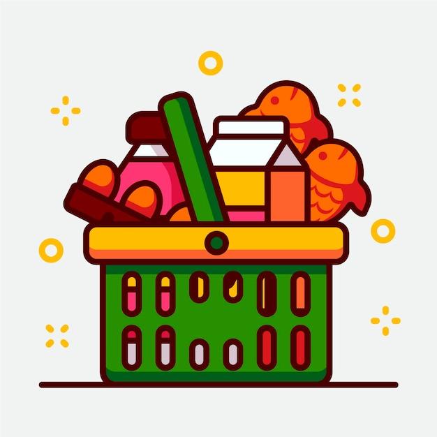 Cesta de la compra verde llena de comestibles Vector Premium