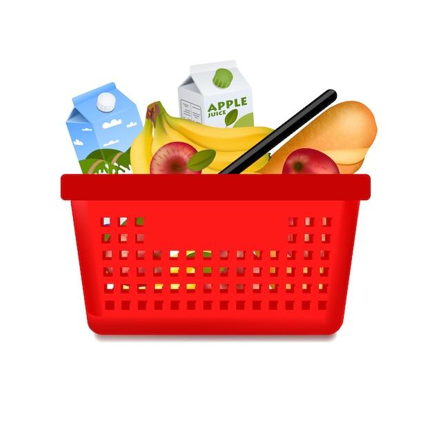 Cesta de compras aislada con productos vector gratuito