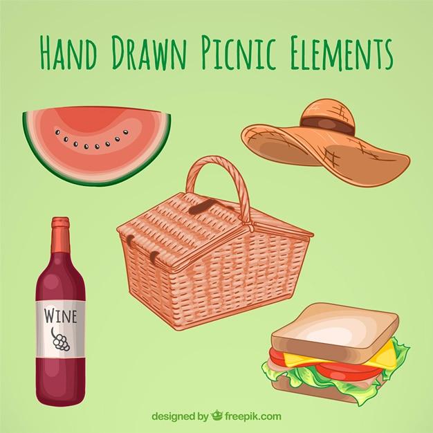 Cesta con elementos de picnic dibujados a mano | Descargar Vectores ...
