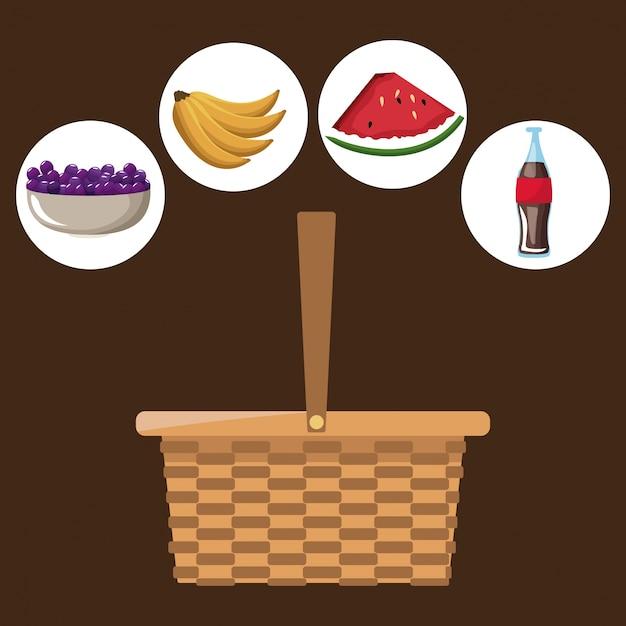 Cesta de picnic con iconos de refresco de picnic y frutas ...