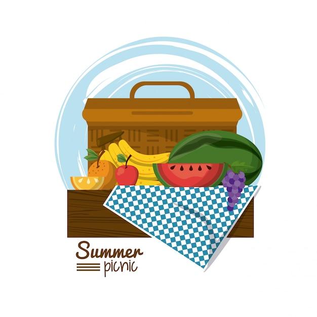 Cesta de picnic en mantel con frutas tropicales | Descargar Vectores ...