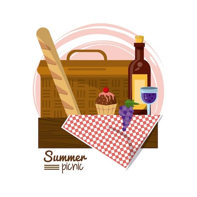 Cesta de picnic en mantel con pan postre y vino | Descargar Vectores ...