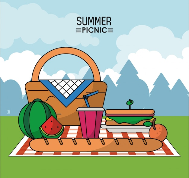 Cesta de picnic en mantel con sándwich de sandía y bebida ...