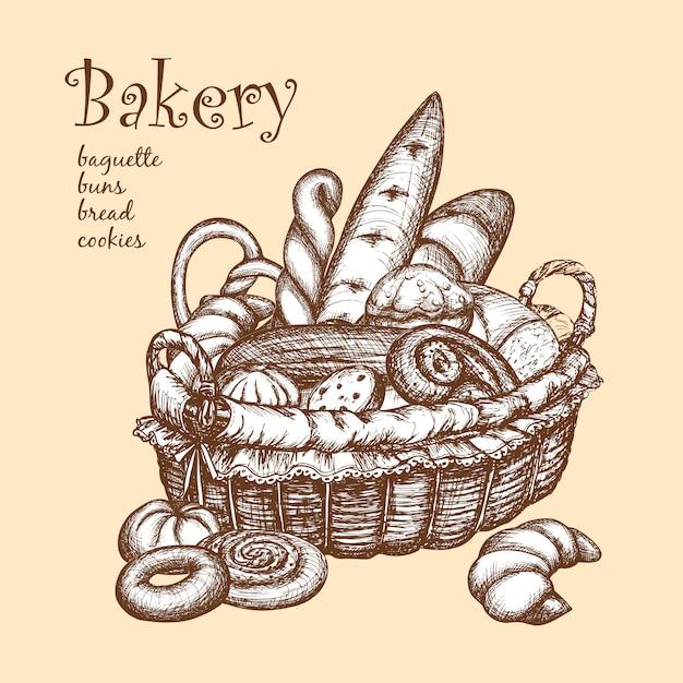 Cesta con panadería vector gratuito