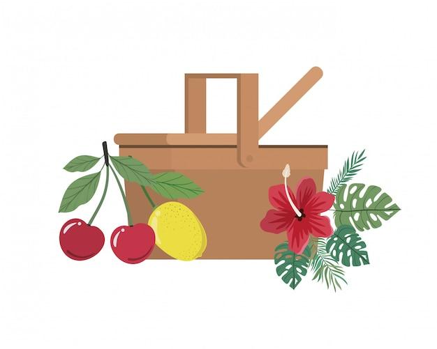 Cesta de picnic con frutas tropicales en blanco vector gratuito