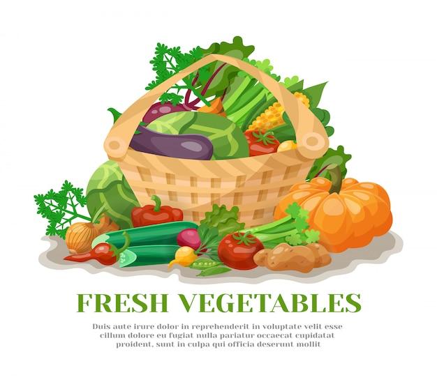 Cesta de verduras naturaleza muerta vector gratuito