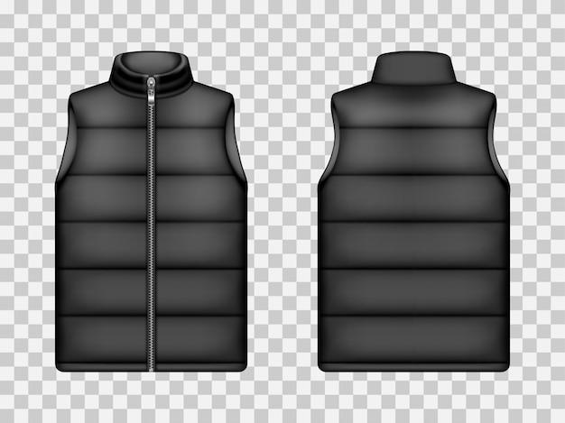 Chaqueta acolchada sin mangas negra, maqueta de chaleco vector gratuito